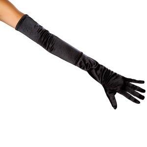 Black Stretch Satin Gloves Mid Arm Elbow Length